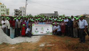 Afforestation activity carried out to create awareness among students & employees, near 